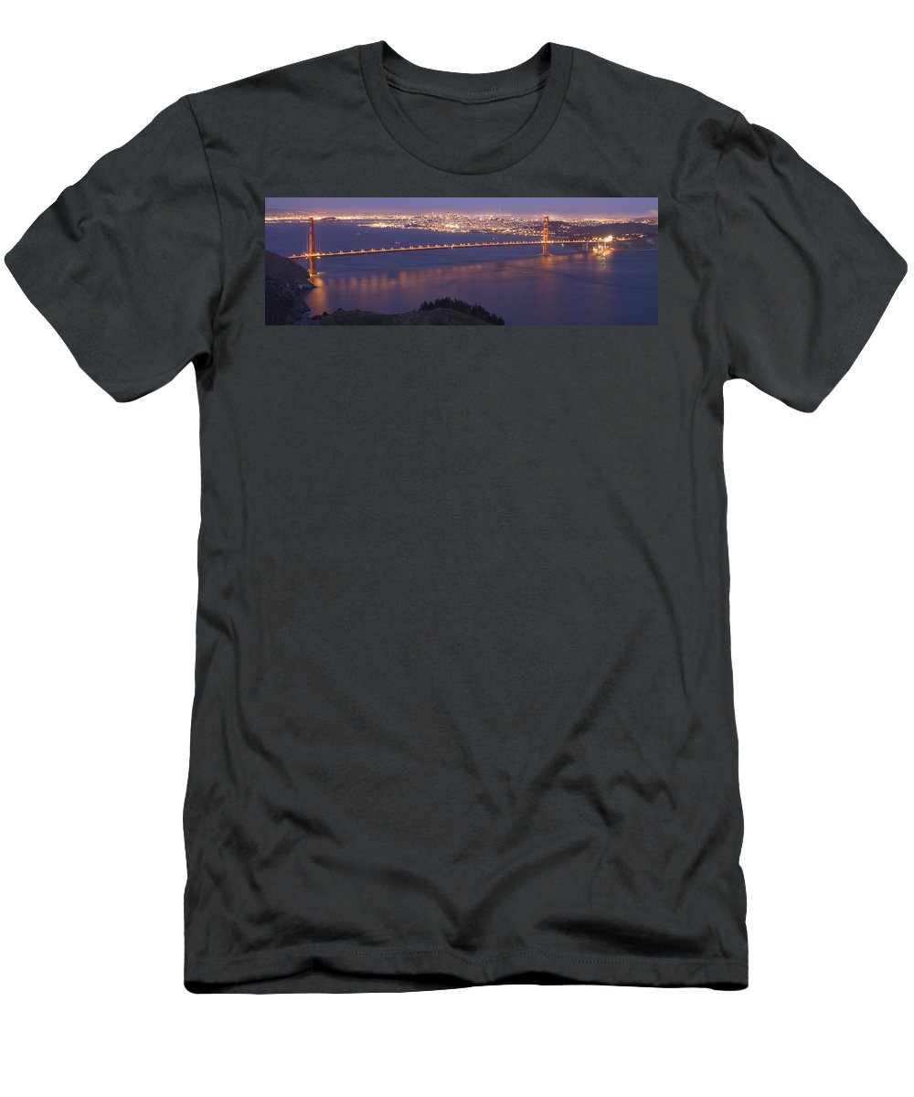 San Francisco Dusk Men's T-Shirt (Athletic Fit) featuring the photograph San Francisco Dusk by Wes and Dotty Weber