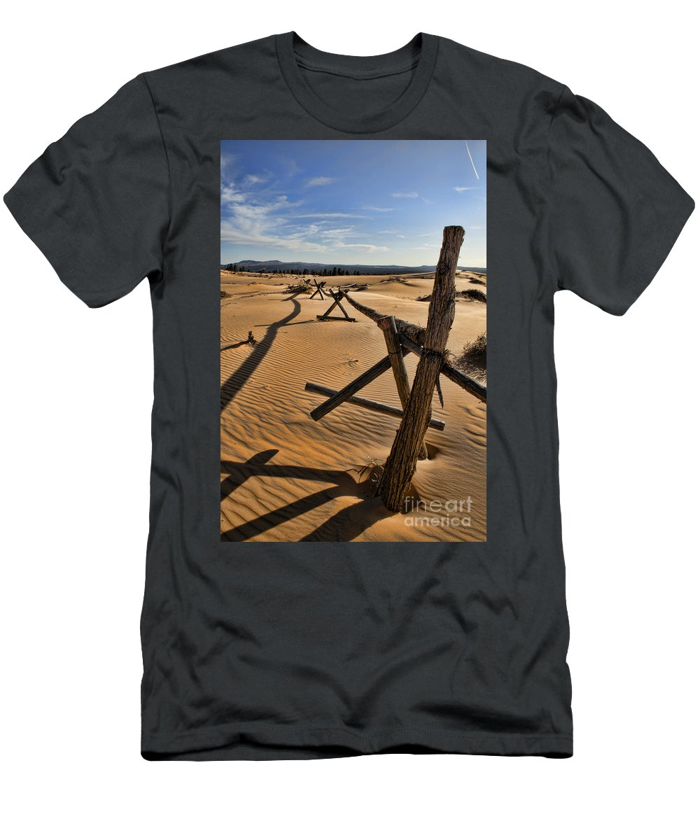 Coral Pink Sand Dunes Men's T-Shirt (Athletic Fit) featuring the photograph Sand by Heather Applegate
