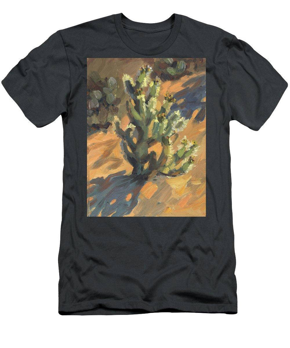 Santa Rosa Cholla Men's T-Shirt (Athletic Fit) featuring the painting Santa Rosa Cholla by Diane McClary