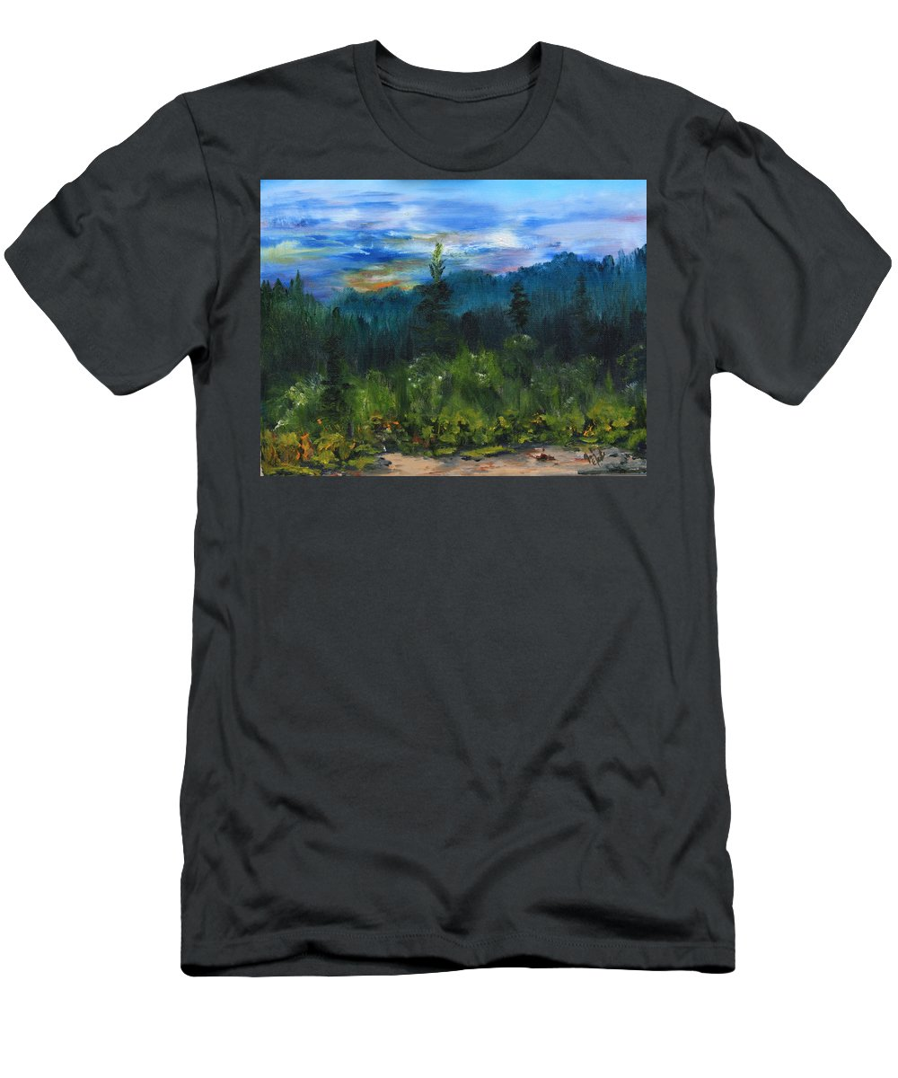 Sawbill Trail Tofte Mn Men's T-Shirt (Athletic Fit) featuring the painting Sawbill Overlook Sunset by Joi Electa
