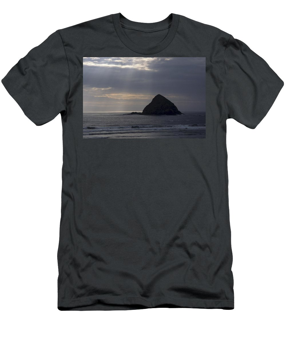 Ocean Men's T-Shirt (Athletic Fit) featuring the photograph Sea Stack On The Oregon Coast by One Rude Dawg Orcutt