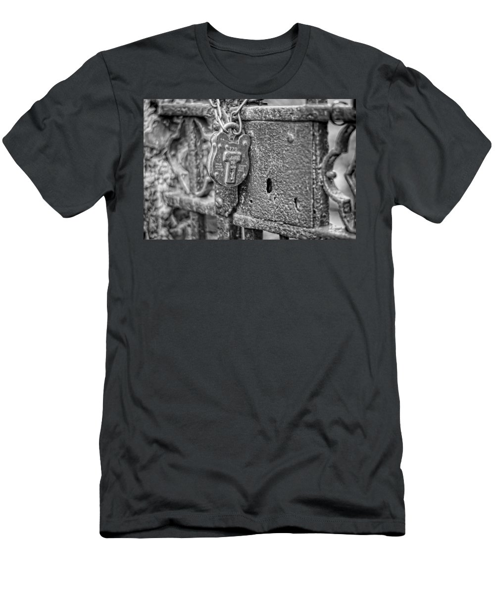 Lock Men's T-Shirt (Athletic Fit) featuring the photograph Secured Forever by Heather Applegate