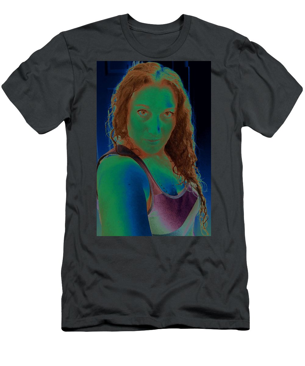 Green Men's T-Shirt (Athletic Fit) featuring the photograph Self Portrait Sassy by Teri Schuster
