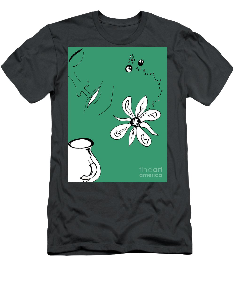 Contemplation Men's T-Shirt (Athletic Fit) featuring the mixed media Serenity In Green by Mary Mikawoz
