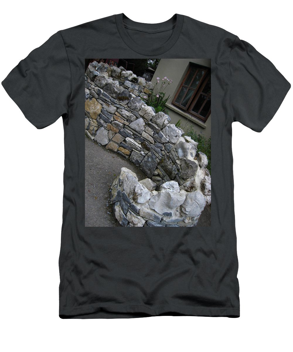 Stone Men's T-Shirt (Athletic Fit) featuring the photograph Serpent Wall by Bonnie Myszka