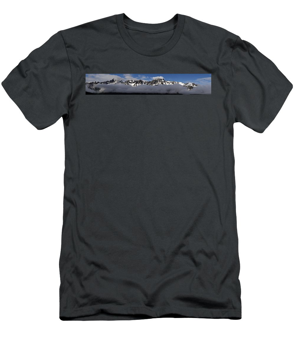 Seward Mountain Range Men's T-Shirt (Athletic Fit) featuring the photograph Seward Mountain Range by Wes and Dotty Weber