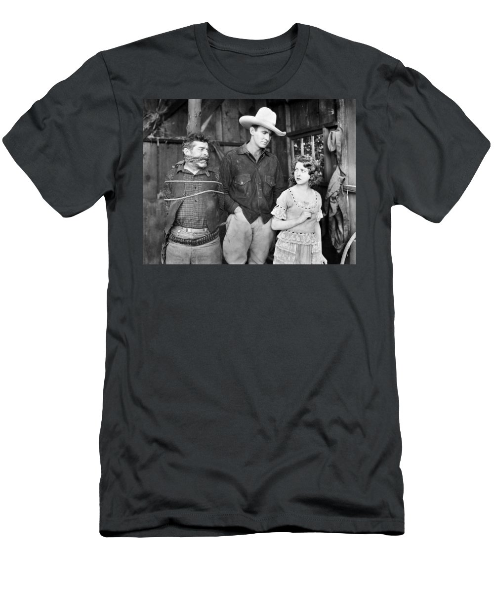 -cowboys- Men's T-Shirt (Athletic Fit) featuring the photograph Silent Film: Cowboys by Granger