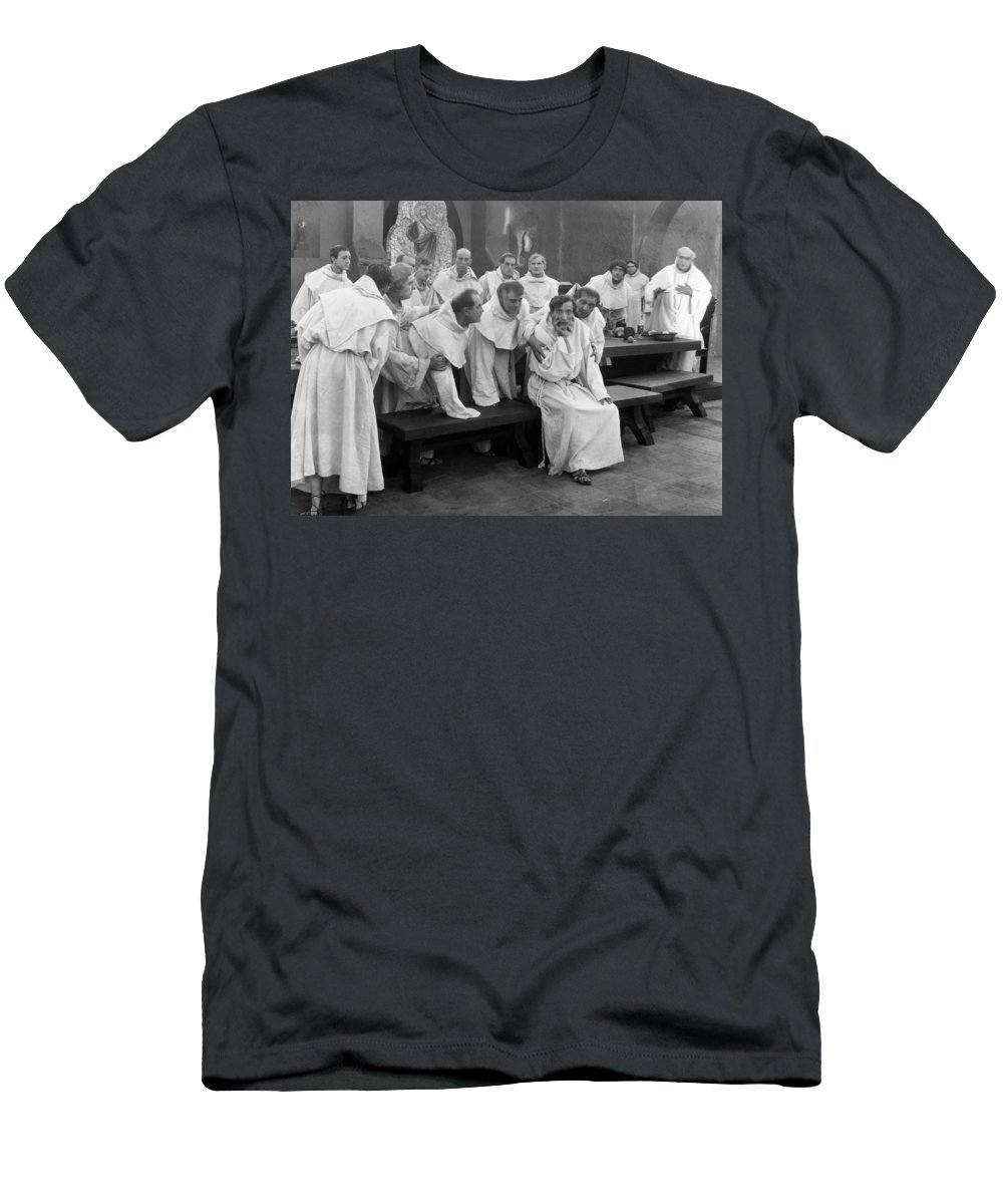 -men Group- Men's T-Shirt (Athletic Fit) featuring the photograph Silent Still: Group Of Men by Granger