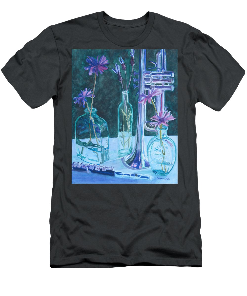 Still Life Men's T-Shirt (Athletic Fit) featuring the painting Silvery Night Music by Jenny Armitage