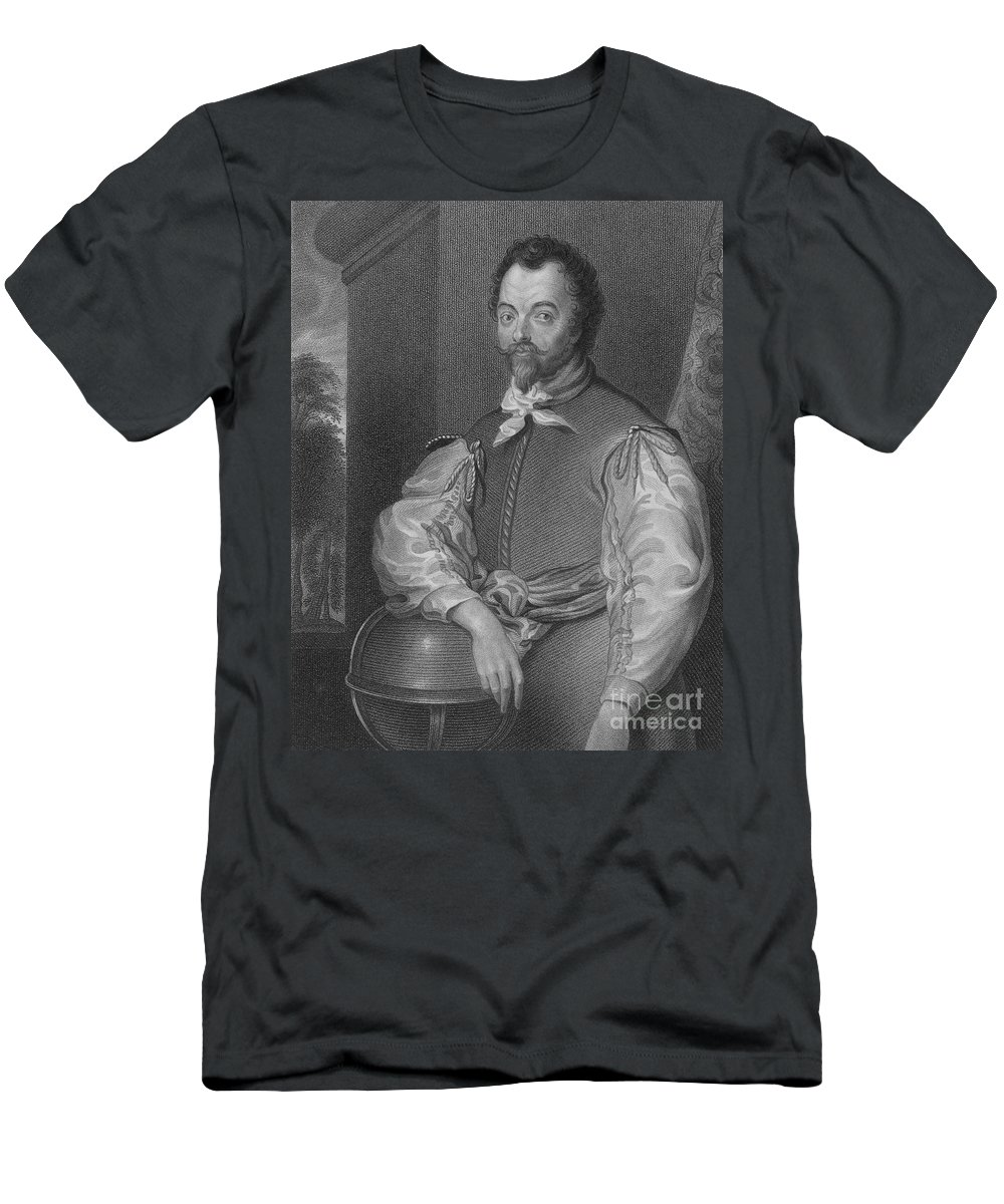 History Men's T-Shirt (Athletic Fit) featuring the photograph Sir Francis Drake, English Explorer by Photo Researchers