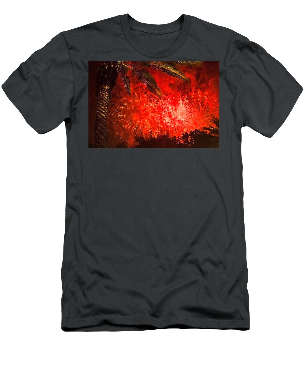 4th Of July Men's T-Shirt (Athletic Fit) featuring the photograph Sky Fire by Debra and Dave Vanderlaan