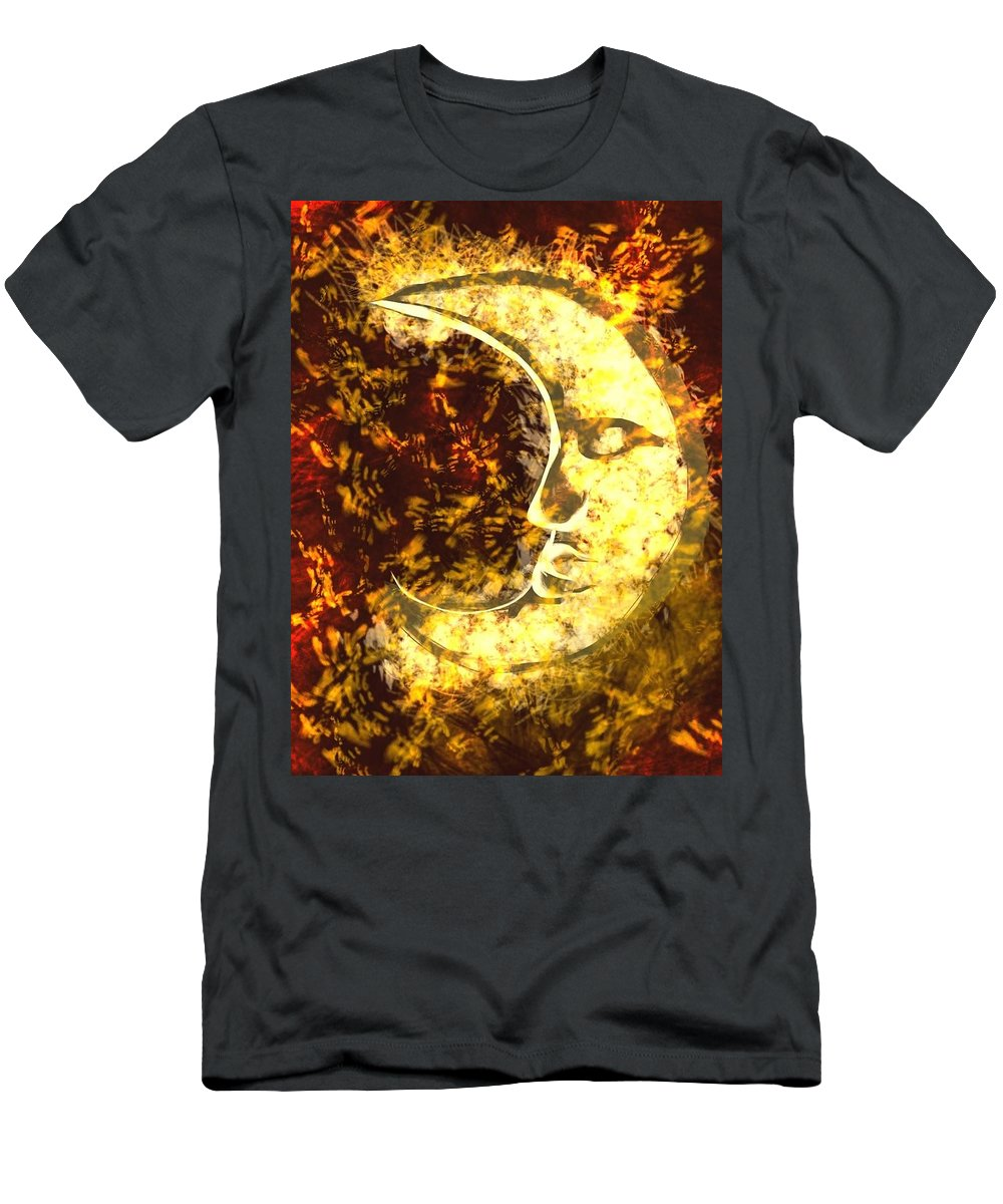 Men's T-Shirt (Athletic Fit) featuring the digital art sleepy Moon by Mathieu Lalonde