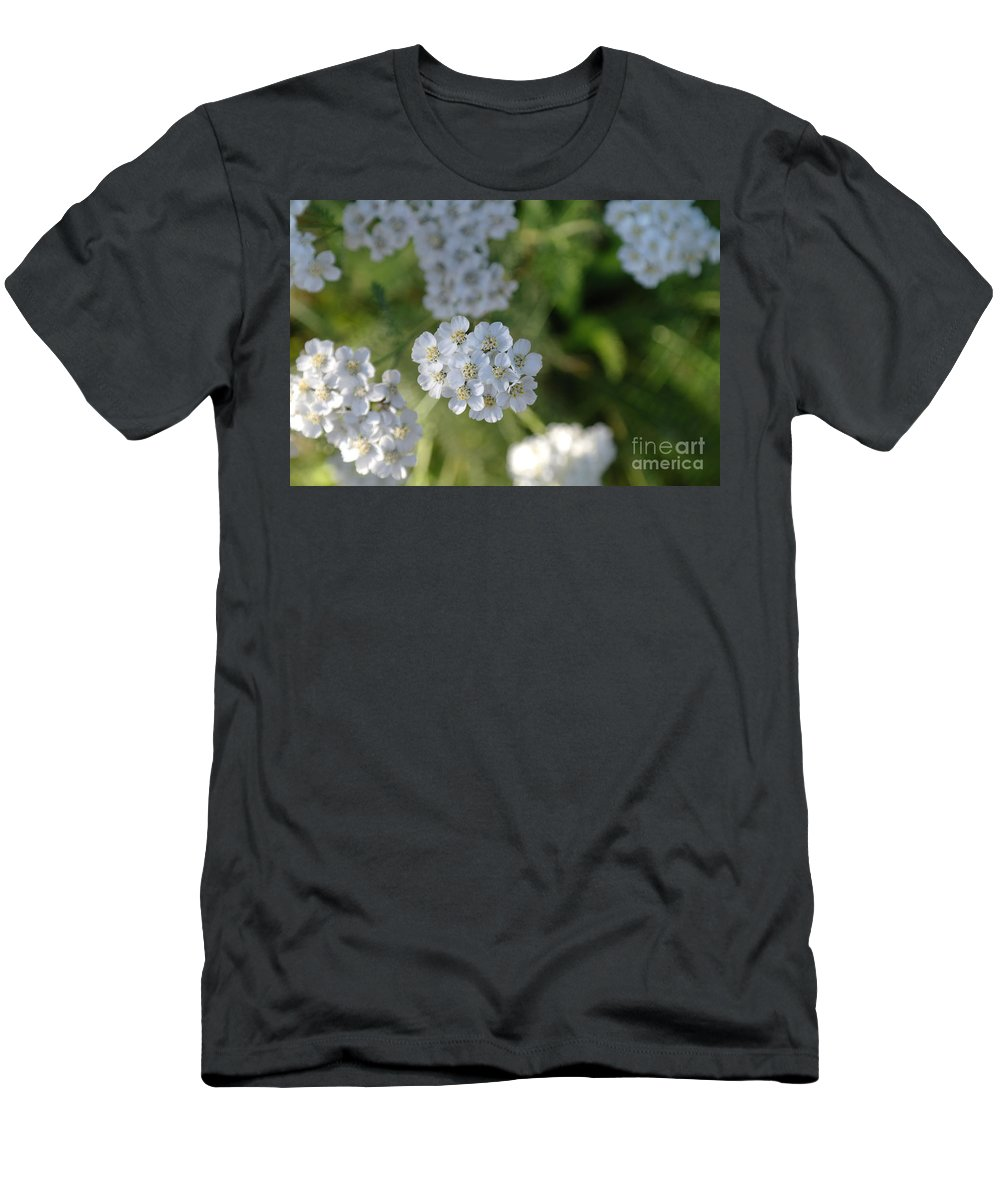 White Flowers Men's T-Shirt (Athletic Fit) featuring the photograph Small White Wildflowers by Jeff Swan