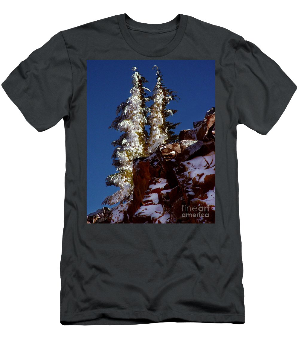 Snow Tipped Trees Men's T-Shirt (Athletic Fit) featuring the photograph Snow Tipped Trees by Peter Piatt