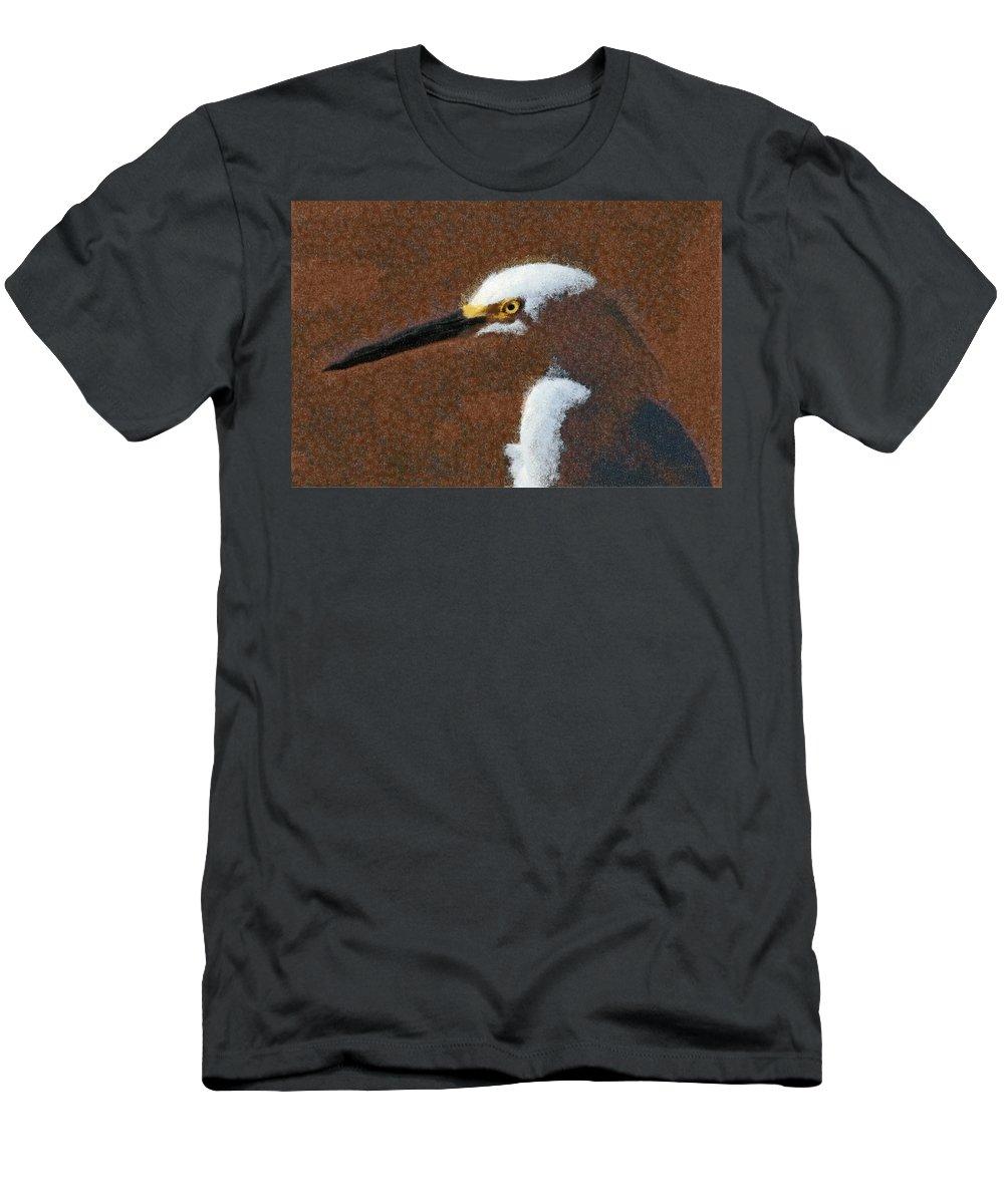 Birds Men's T-Shirt (Athletic Fit) featuring the digital art Snowy Egret Profile Painterly by Ernie Echols