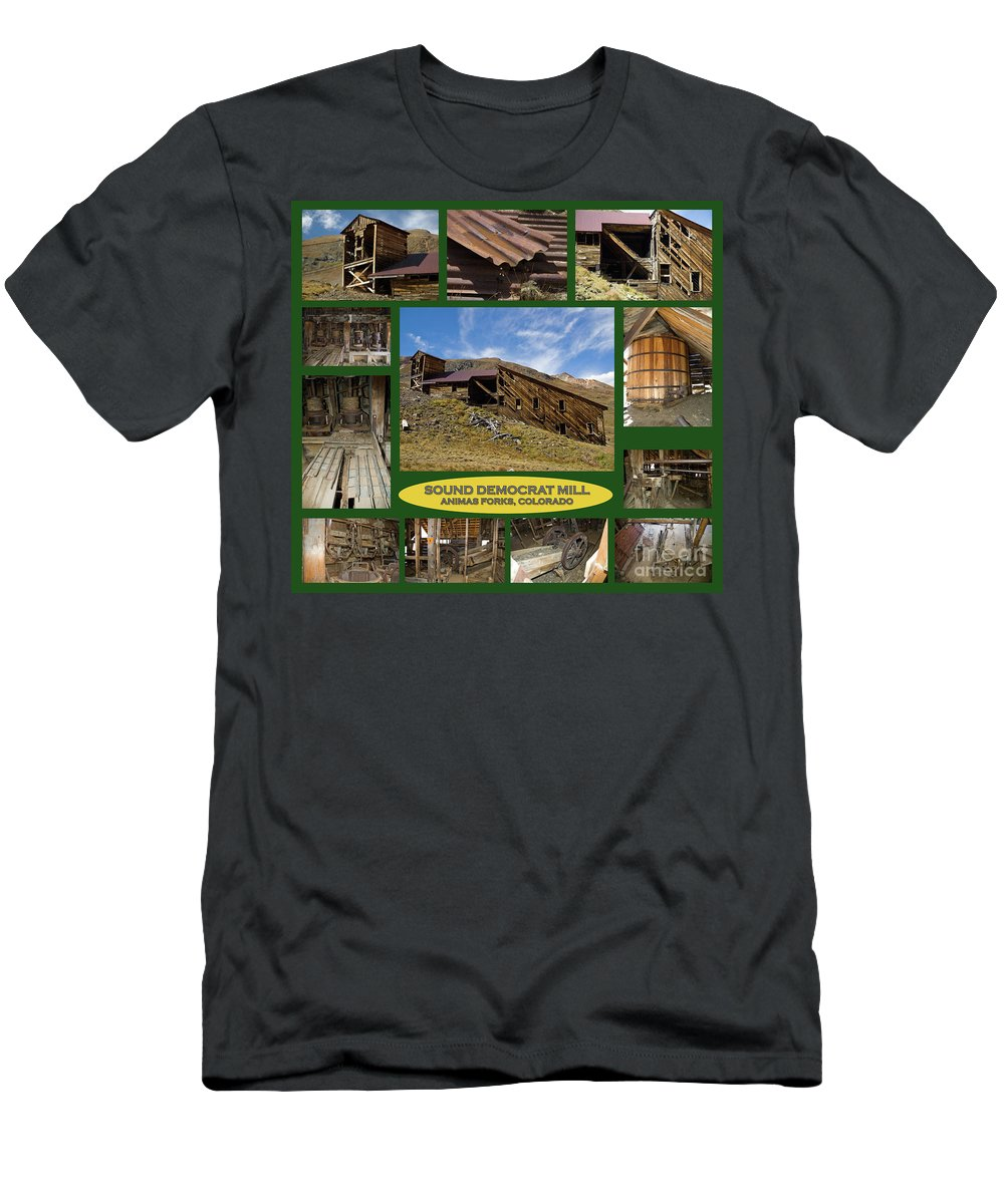 Colorado Men's T-Shirt (Athletic Fit) featuring the photograph Sound Democrat Mill Compilation by Tim Mulina