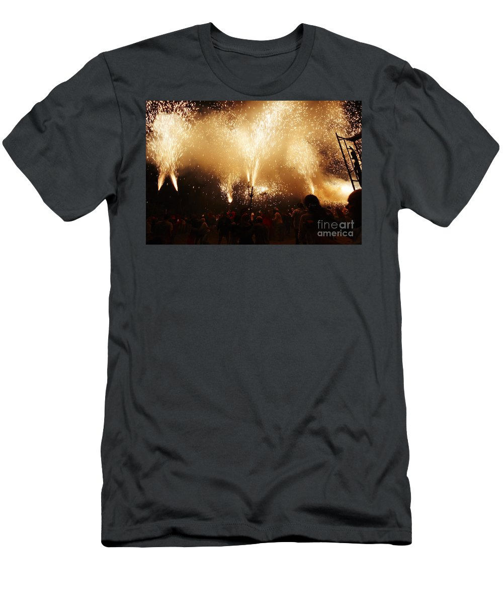 Fuego Men's T-Shirt (Athletic Fit) featuring the photograph Sparks Rain by Agusti Pardo Rossello