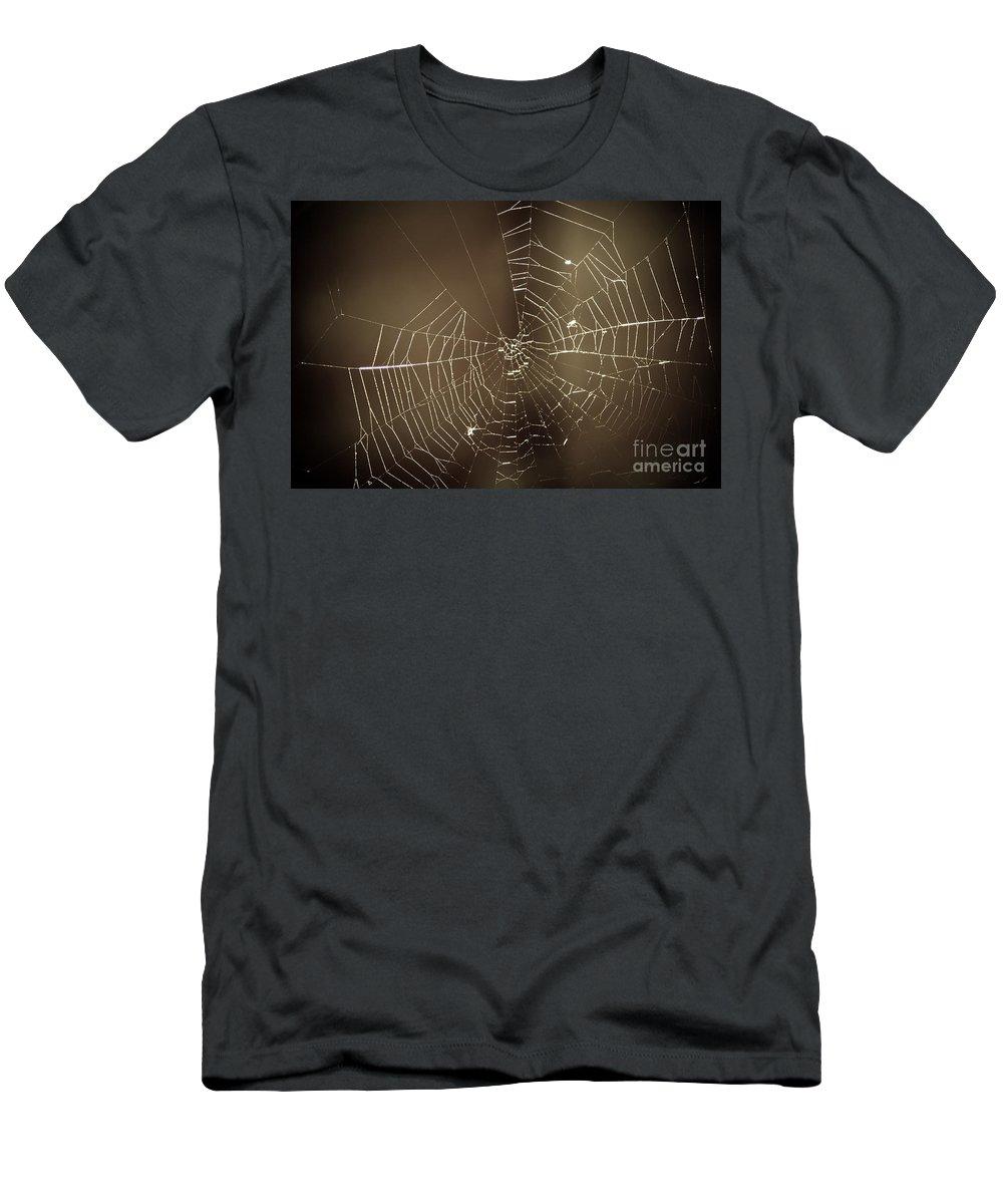 Yhun Suarez Men's T-Shirt (Athletic Fit) featuring the photograph Spider Web 1.0 by Yhun Suarez
