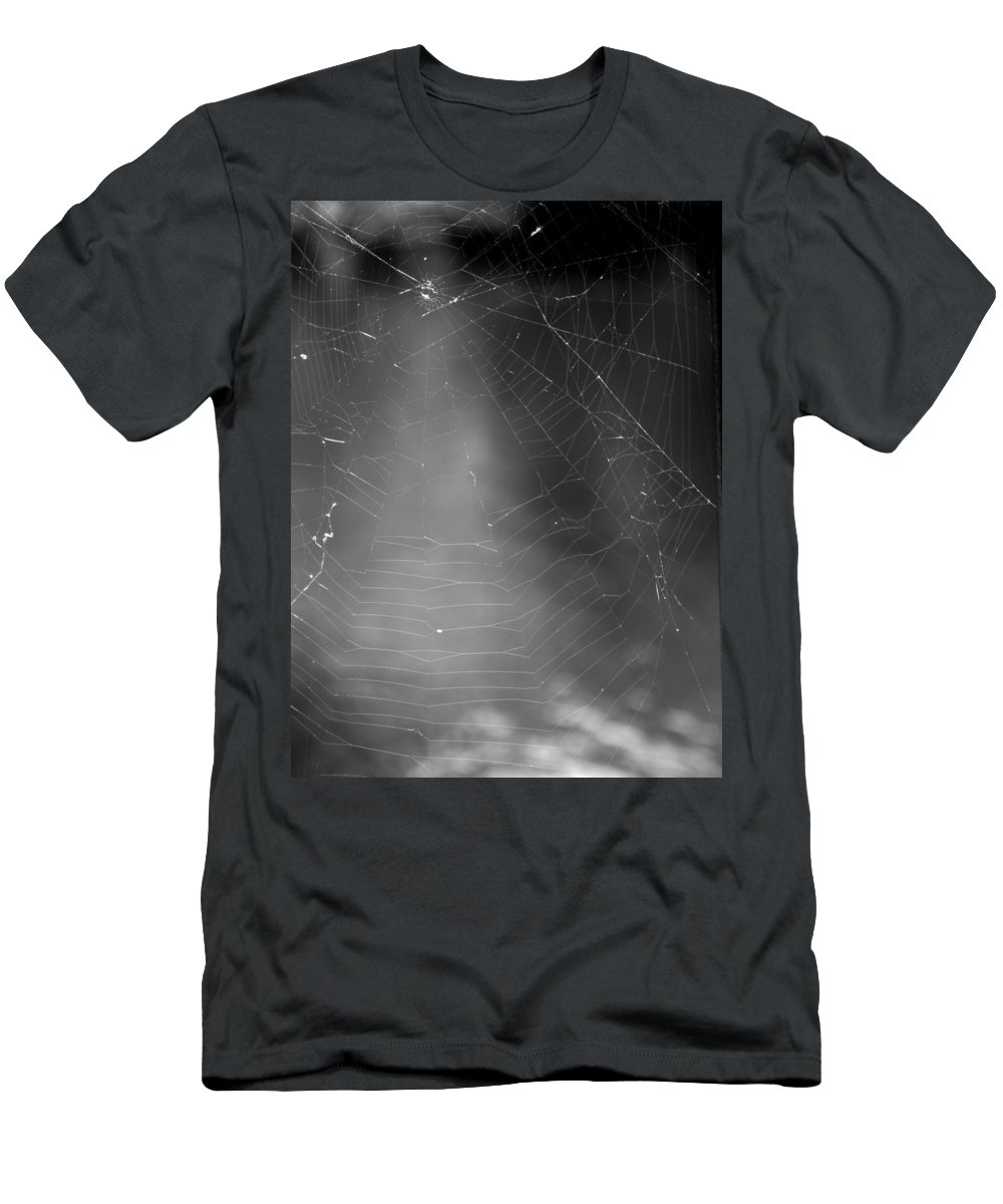 Black And White Men's T-Shirt (Athletic Fit) featuring the photograph Spiderweb Dos by Michele Nelson