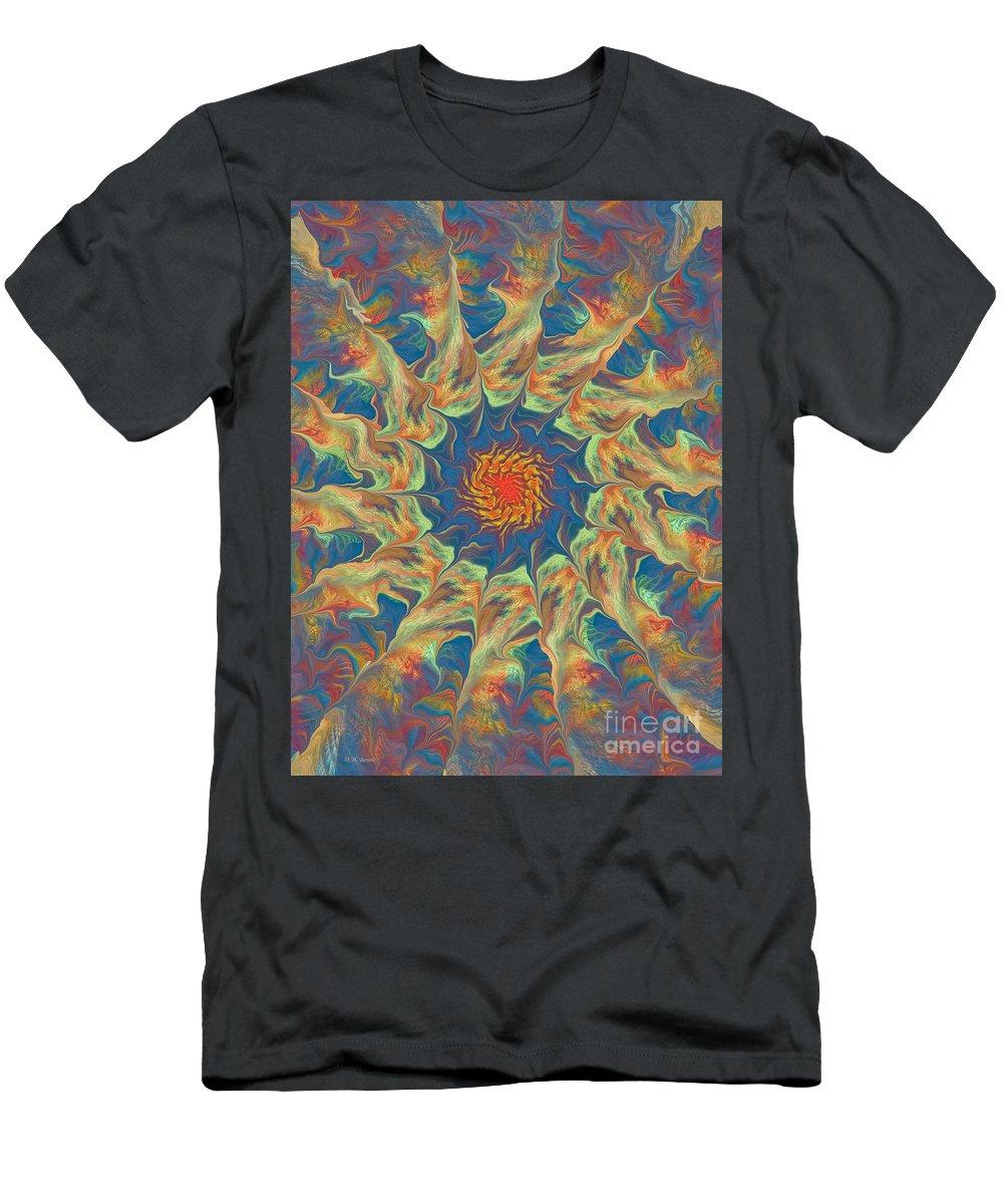 Abstract Men's T-Shirt (Athletic Fit) featuring the digital art Spiritual Pinwheel by Deborah Benoit