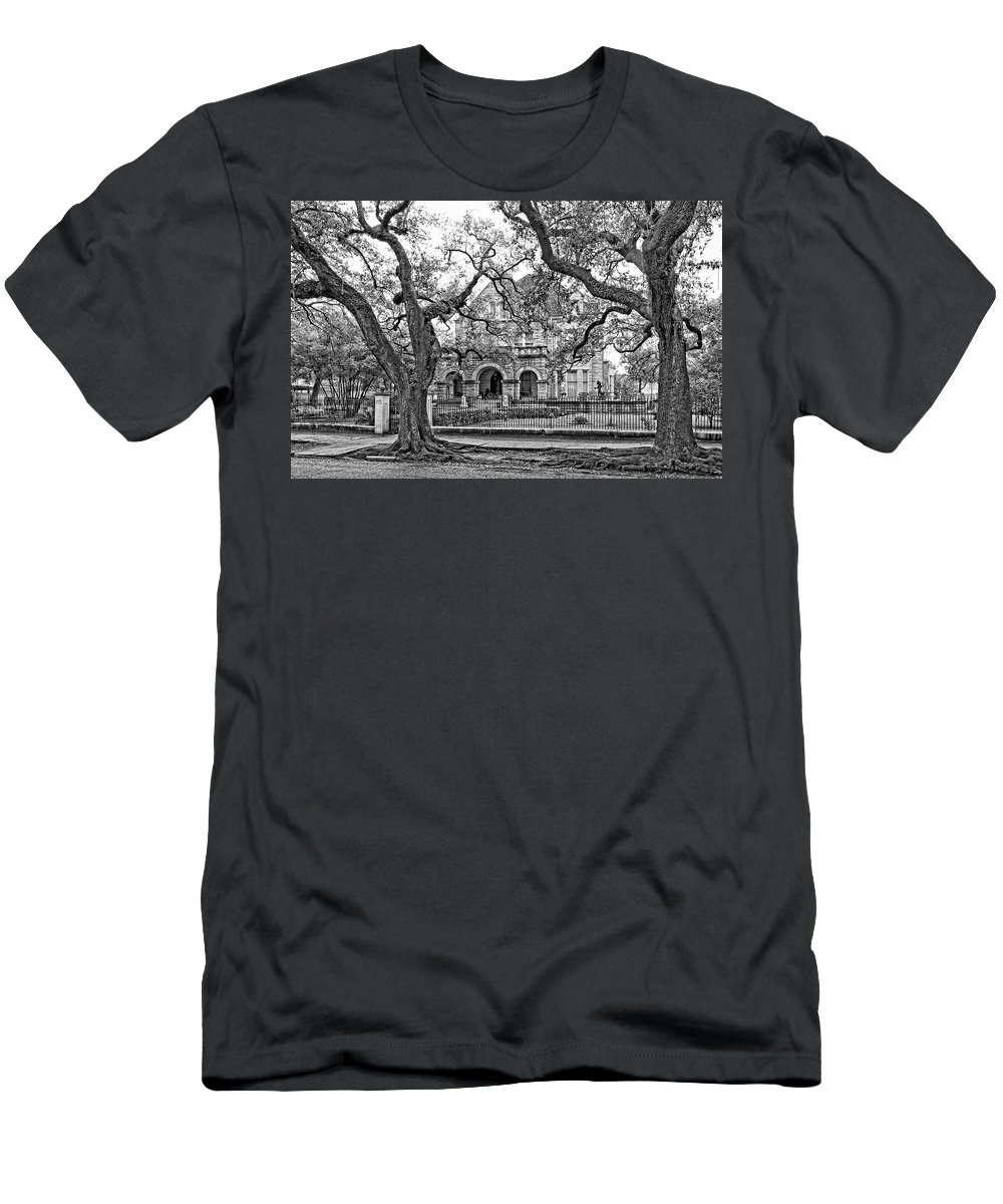 Home Men's T-Shirt (Athletic Fit) featuring the photograph St. Charles Ave. Mansion Monochrome by Steve Harrington