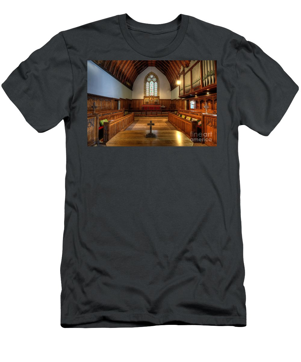 Yhun Suarez Men's T-Shirt (Athletic Fit) featuring the photograph St John's Church Altar - Filey by Yhun Suarez