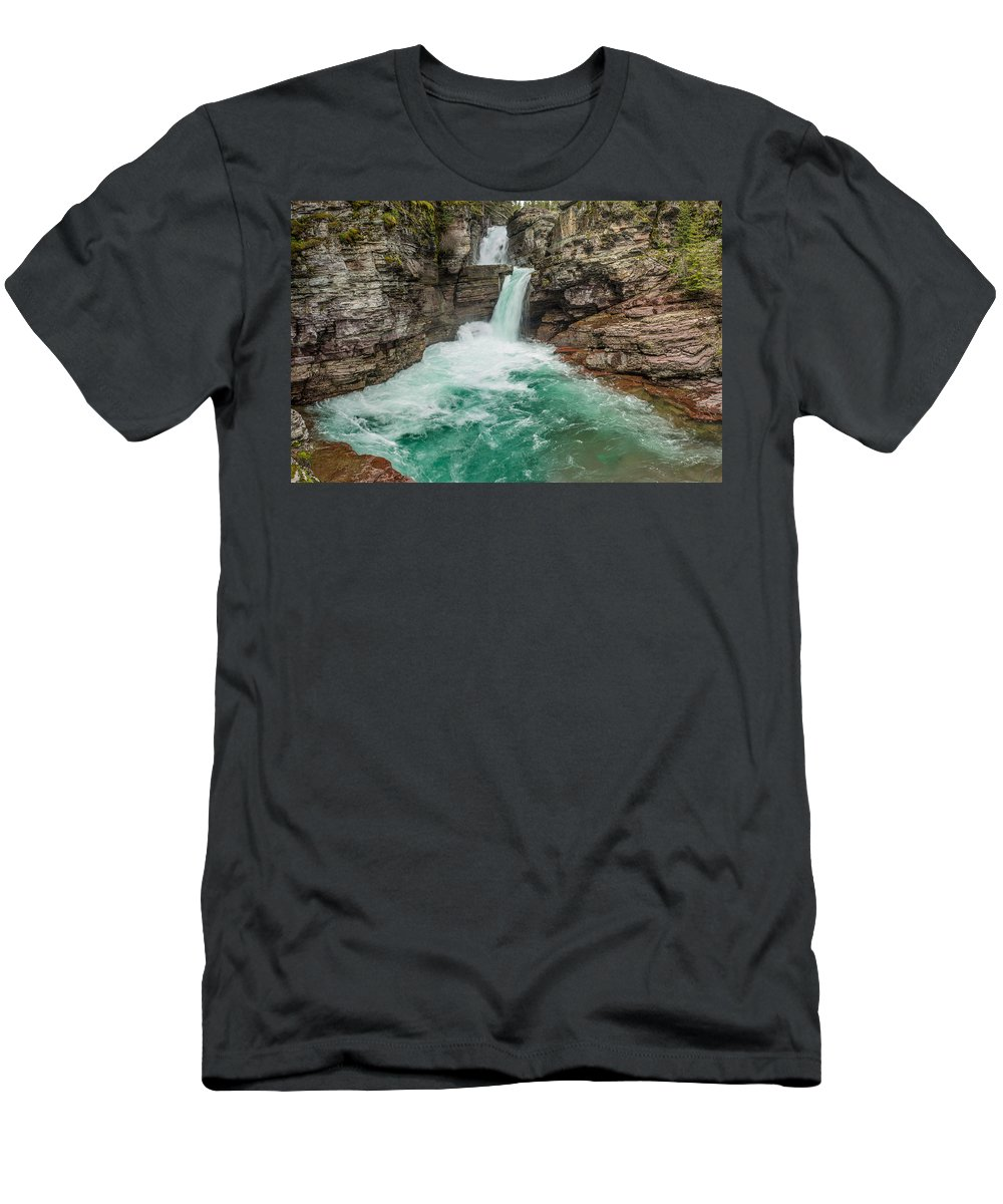 St. Mary Falls Men's T-Shirt (Athletic Fit) featuring the photograph St. Mary Falls In Spring by Greg Nyquist