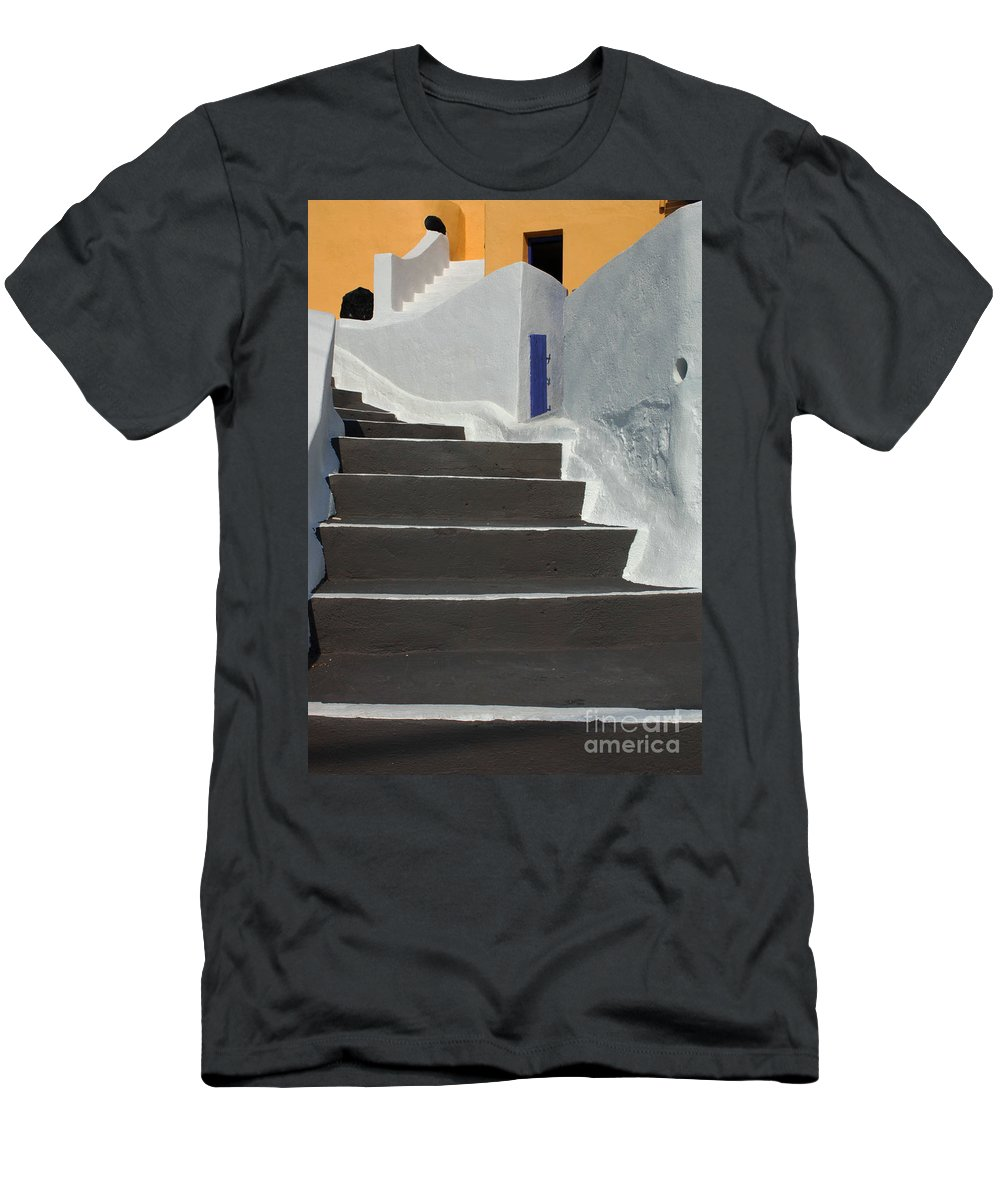 Greece Men's T-Shirt (Athletic Fit) featuring the photograph Stairway Santorini 2 by Bob Christopher