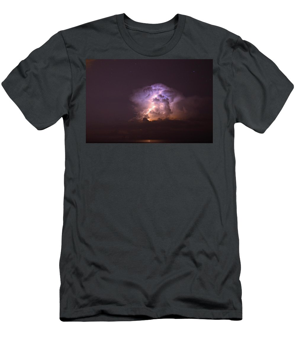 Lightning Men's T-Shirt (Athletic Fit) featuring the photograph Stars And Lightning by David Morefield