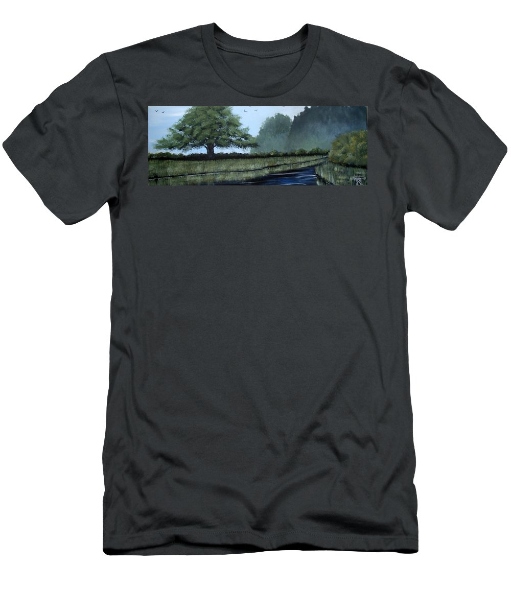Water Men's T-Shirt (Athletic Fit) featuring the painting Still Water by Trudy Kepke