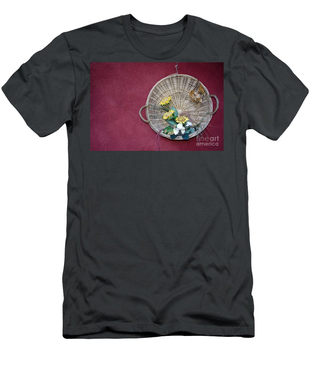 Straw Basket Men's T-Shirt (Athletic Fit) featuring the photograph Straw Basket With Flowers by Mats Silvan