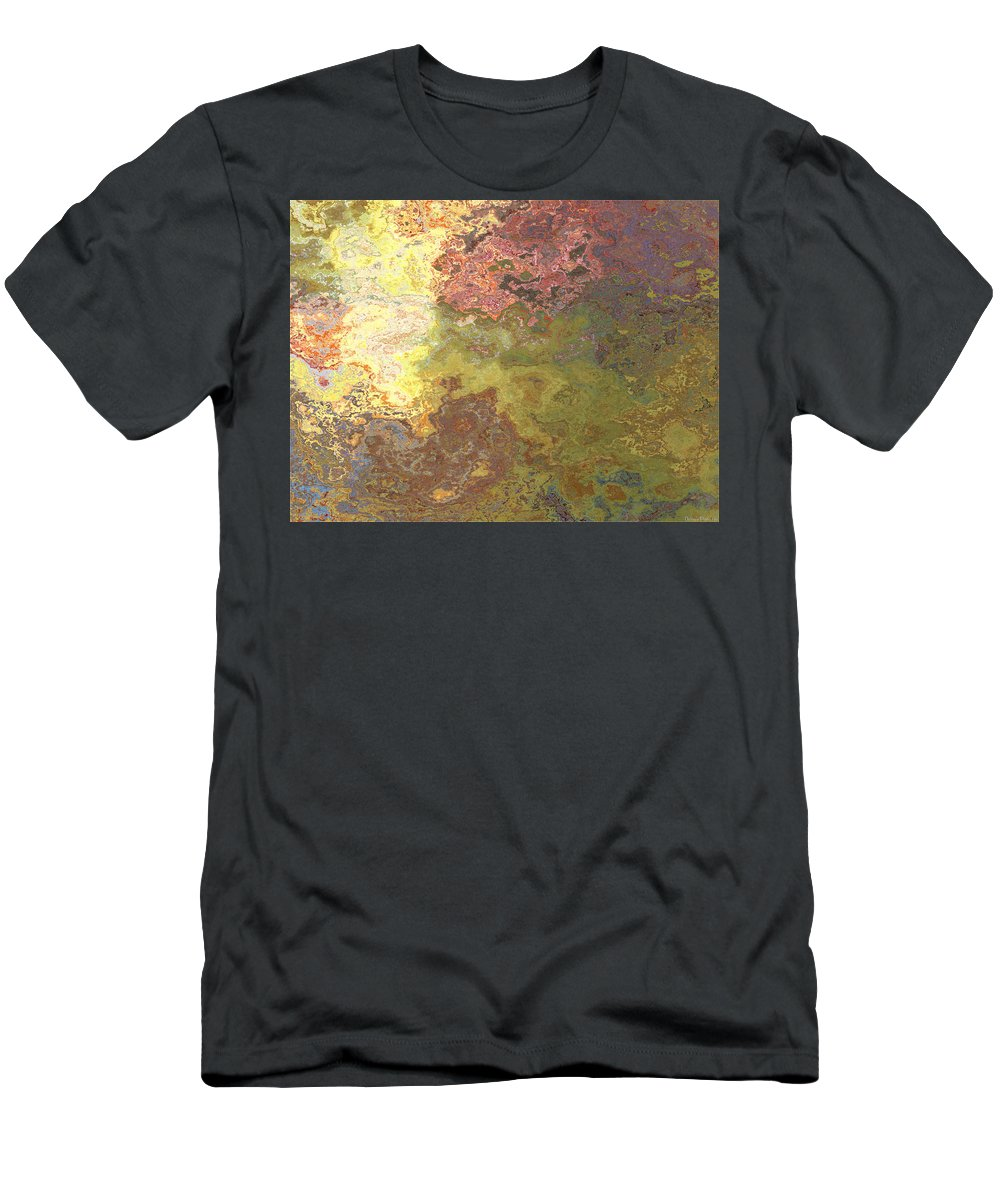 Abstract Men's T-Shirt (Athletic Fit) featuring the digital art Sunlit Bricks Abstract by Debbie Portwood