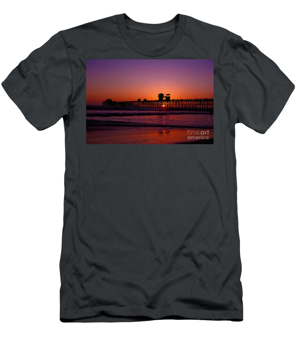 Oceanside Men's T-Shirt (Athletic Fit) featuring the photograph Sunset At Oceanside Pier by Daniel Knighton