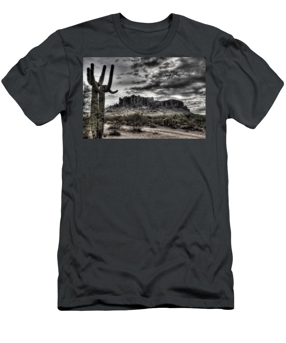 Arizona Men's T-Shirt (Athletic Fit) featuring the photograph Superstition Saguaro by Saija Lehtonen