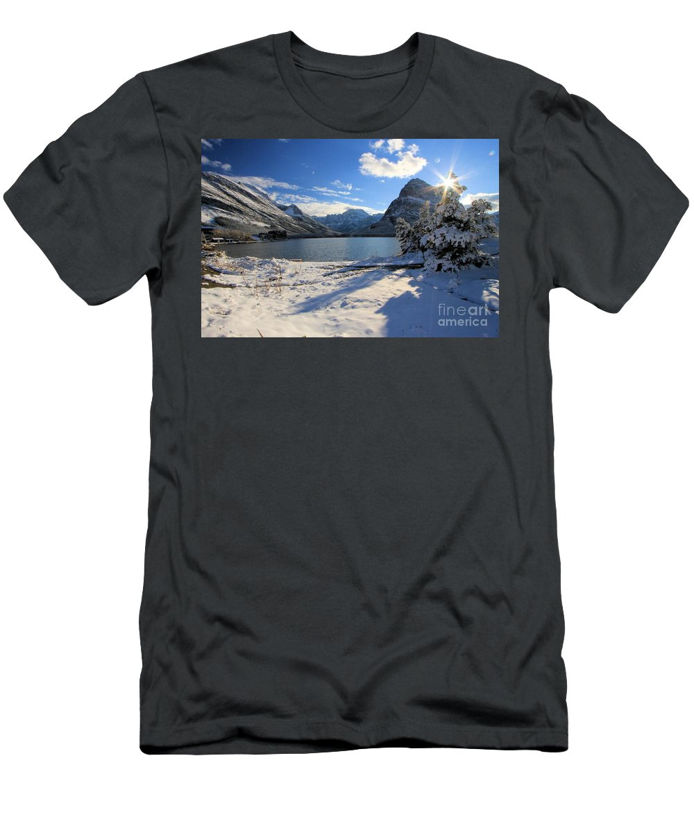 Swiftcurrent Lake Men's T-Shirt (Athletic Fit) featuring the photograph Swiftcurrent Sunburst by Adam Jewell