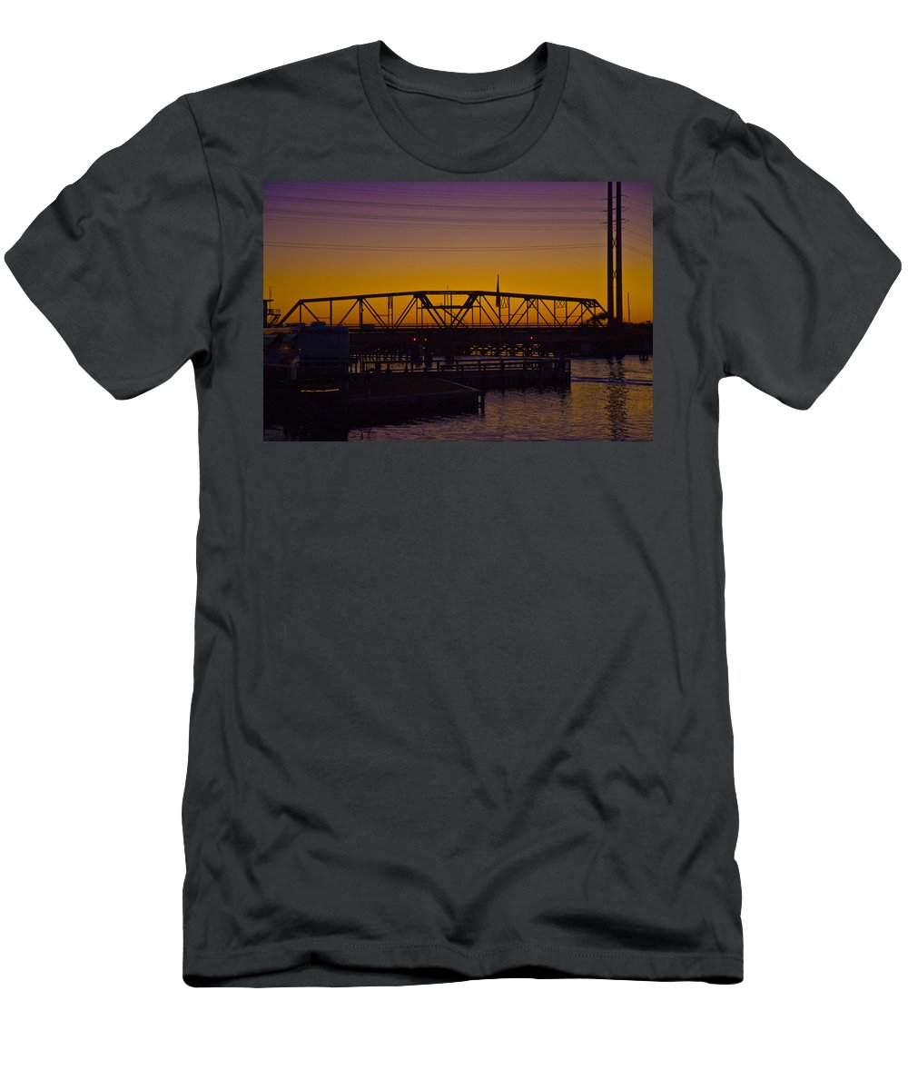 Topsail Men's T-Shirt (Athletic Fit) featuring the photograph Swing Bridge Sunset by Betsy Knapp