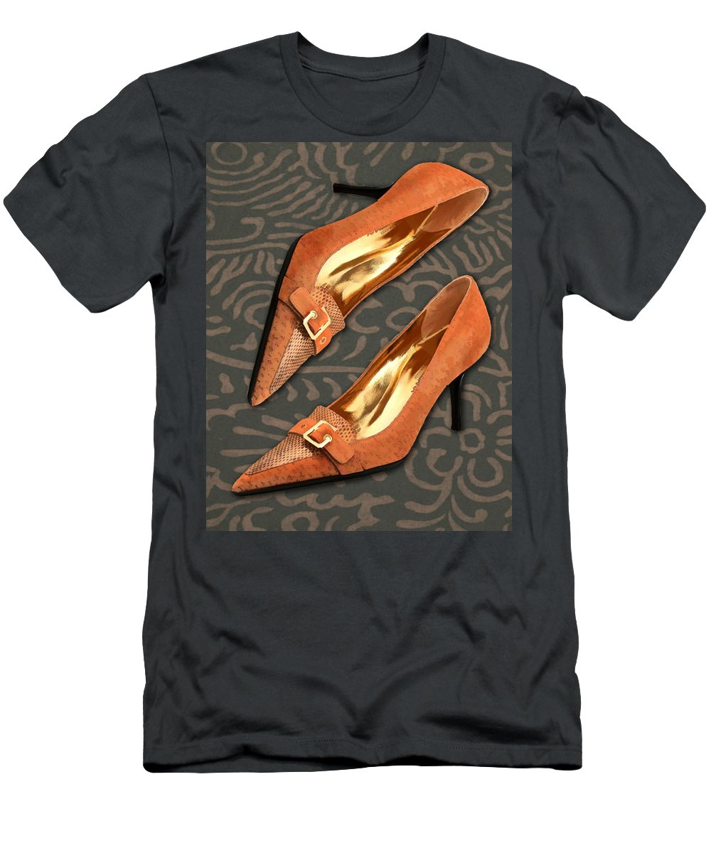 Shoes Heels Pumps Fashion Designer Feet Foot Shoe Stilettos Painting Paintings Illustration Illustrations Sketch Sketches Drawing Drawings Pump Stiletto Fetish Designer Fashion Boot Boots Footwear Sandal Sandals High+heels High+heel Women's+shoes Graphic Sophisticated Elegant Modern Men's T-Shirt (Athletic Fit) featuring the painting Tan Ostrich With Golden Buckles by Elaine Plesser