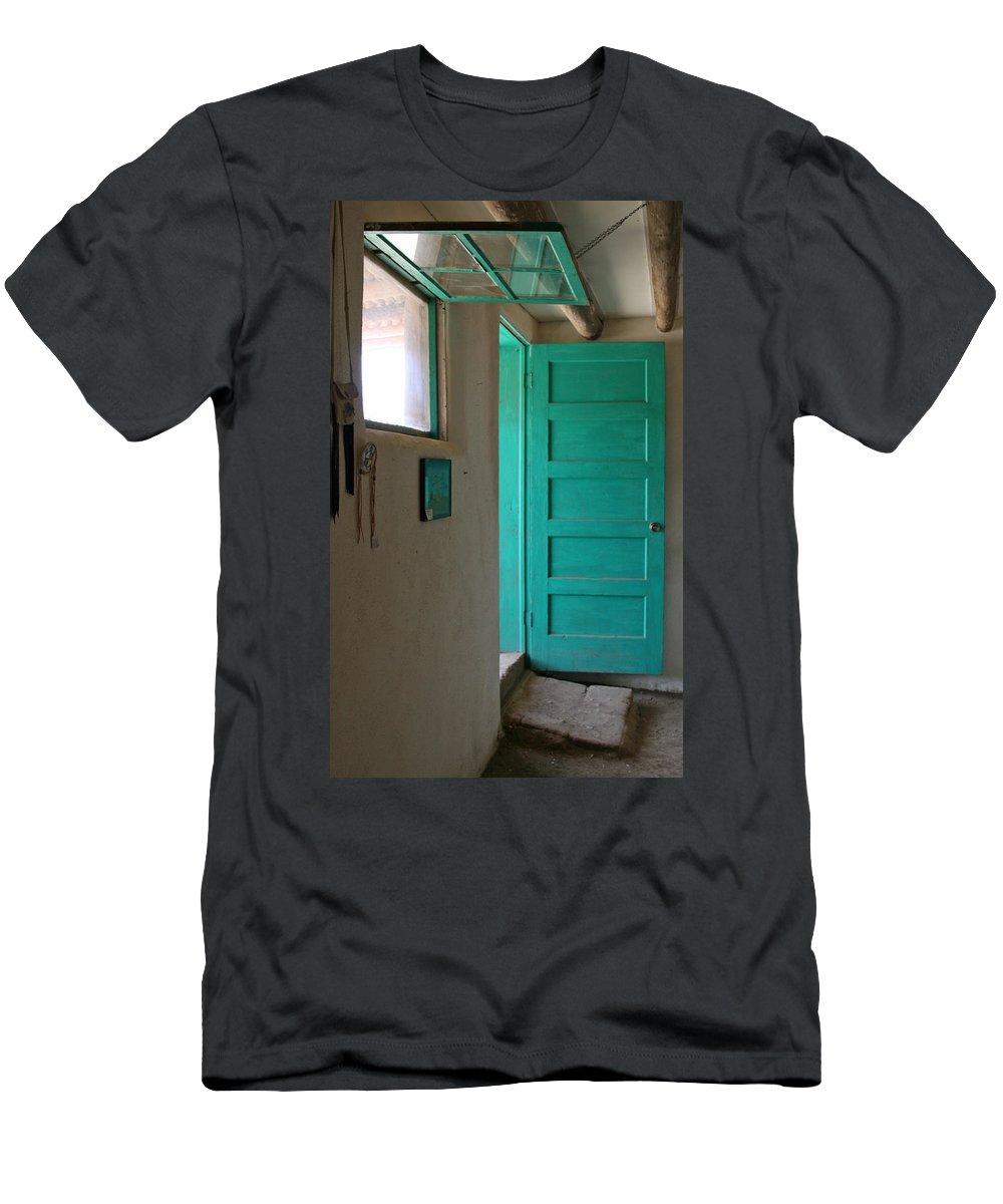 Taos Men's T-Shirt (Athletic Fit) featuring the photograph Taos Pueblo Shop Door by Elizabeth Rose