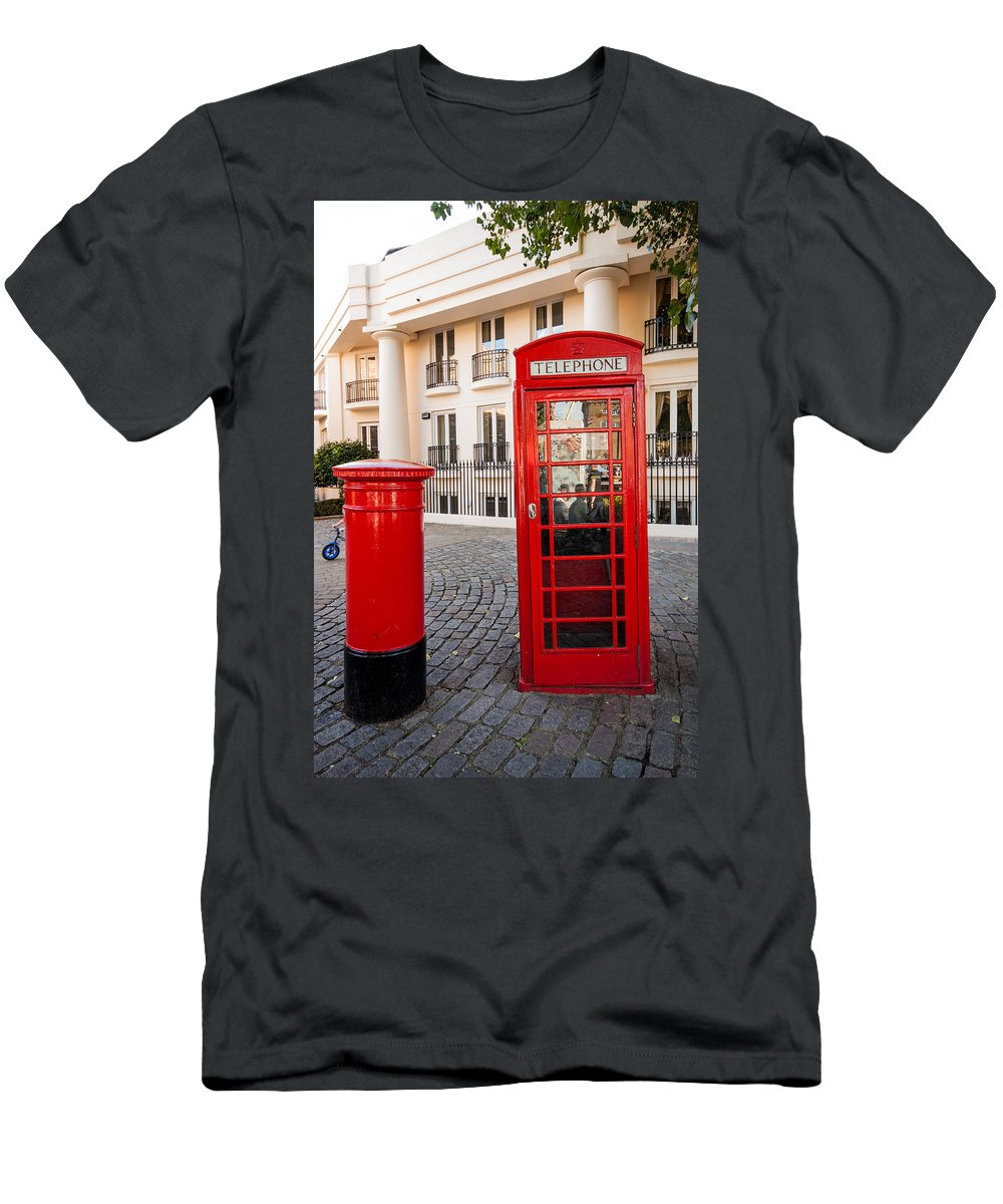 Telephone Box Men's T-Shirt (Athletic Fit) featuring the photograph Telephone And Post Box by Dawn OConnor
