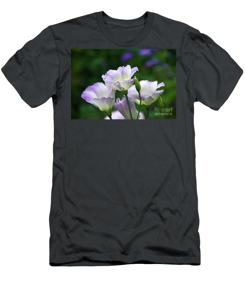 Lisianthus And Turquoise Hoverfly Men's T-Shirt (Athletic Fit) featuring the photograph Texas Bluebell And Turquoise Visitor by Byron Varvarigos