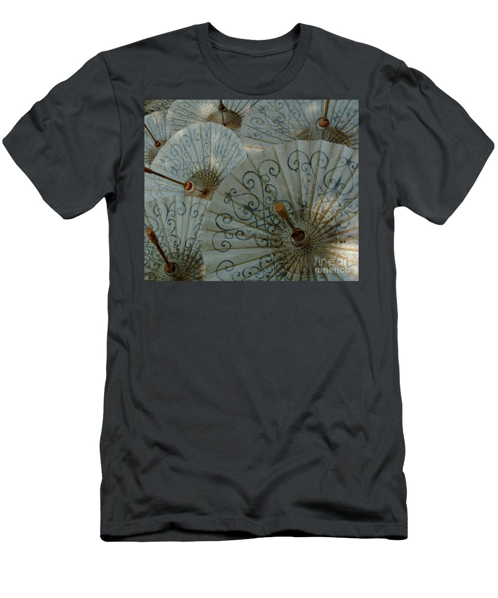 Umbrella Men's T-Shirt (Athletic Fit) featuring the photograph Thai Umbrellas 3 by Bob Christopher