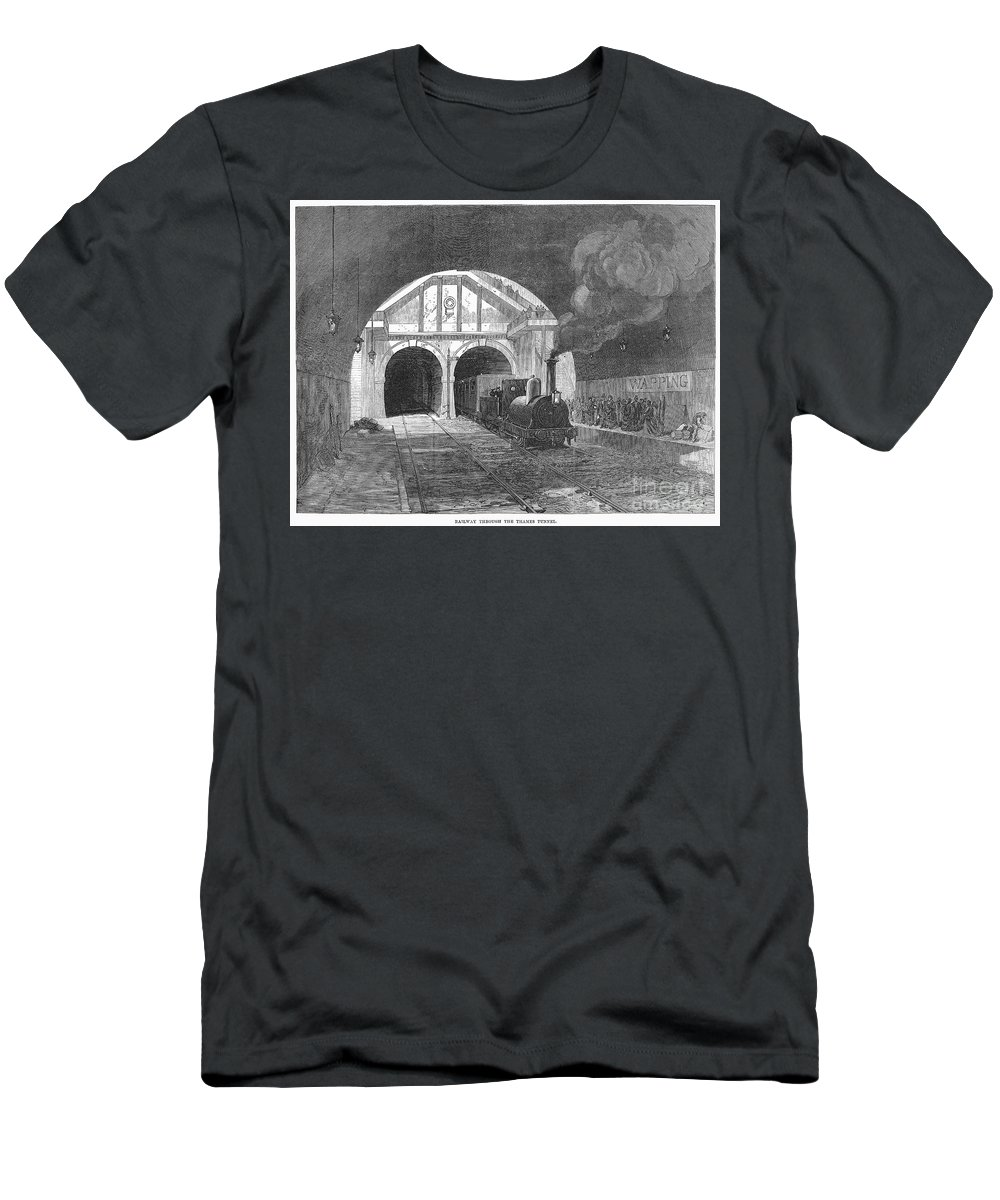 1869 Men's T-Shirt (Athletic Fit) featuring the photograph Thames Tunnel: Train, 1869 by Granger