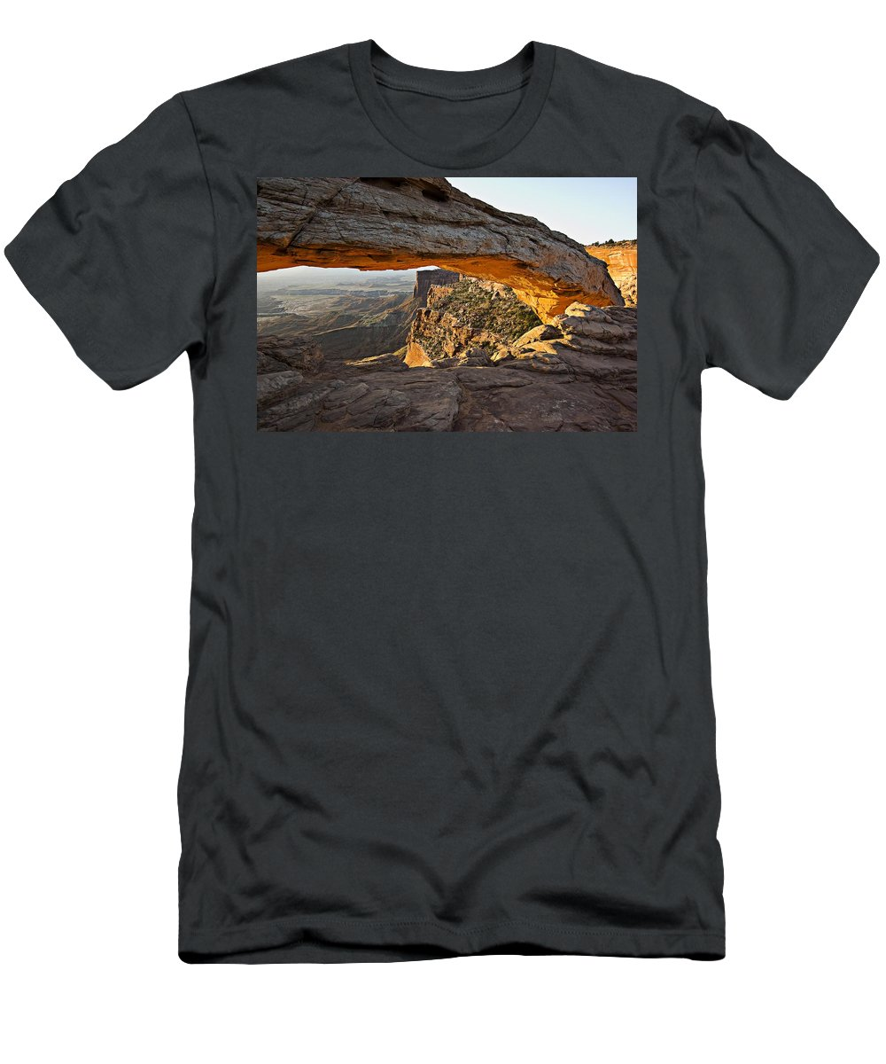 Arch Men's T-Shirt (Athletic Fit) featuring the photograph The Arch, Arches National Park, Moab by Robert Brown