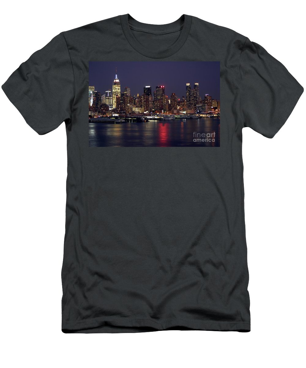 New York City Men's T-Shirt (Athletic Fit) featuring the photograph The City That Never Sleeps by Living Color Photography Lorraine Lynch