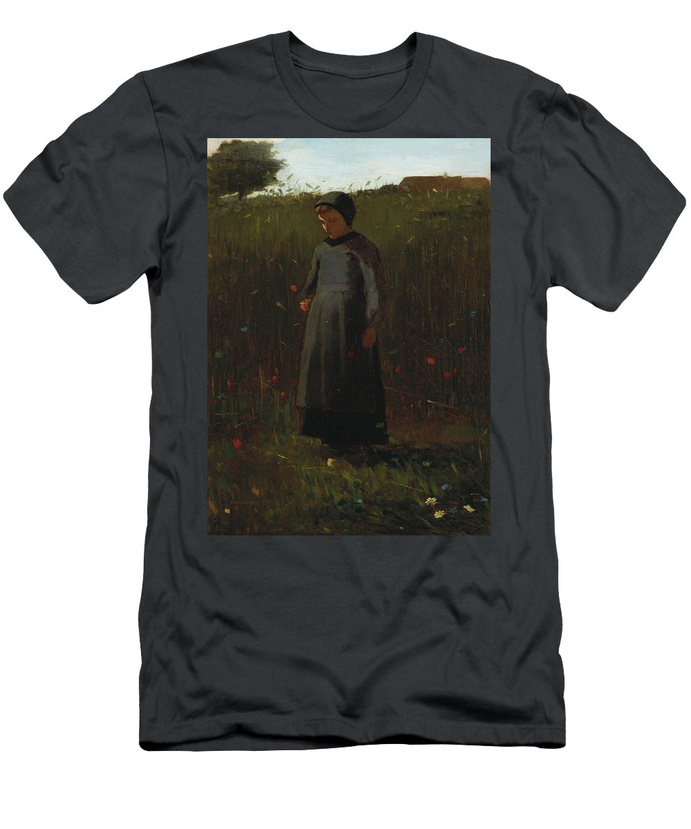 The Flowers Of The Field (oil On Canvas) By Winslow Homer (1836-1910) Female; Girl; Picking; Wild; Landscape; Rural; Poppies; Poppy; Flower Men's T-Shirt (Athletic Fit) featuring the painting The Flowers Of The Field by Winslow Homer