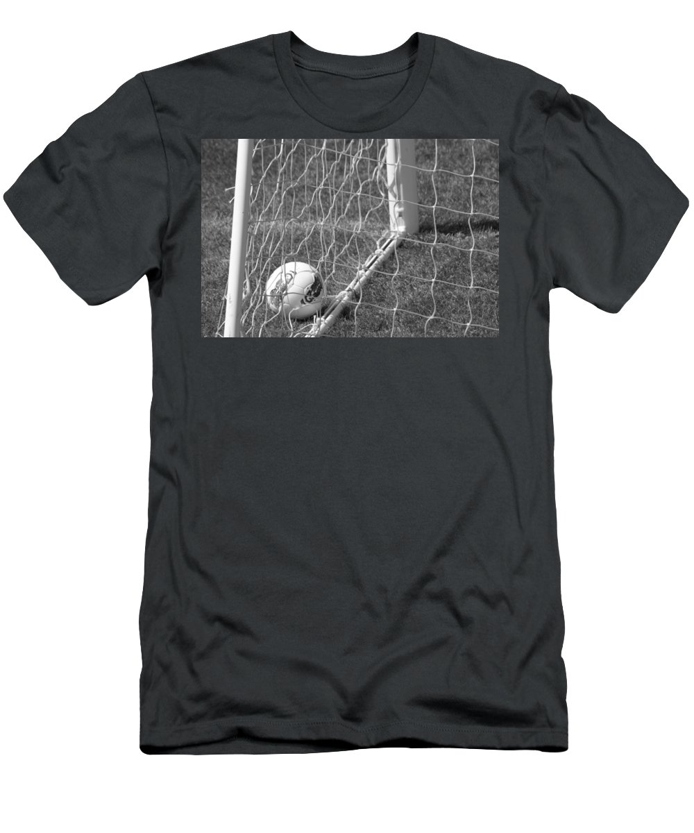 Soccer Men's T-Shirt (Athletic Fit) featuring the photograph The Golden Goal by Laddie Halupa