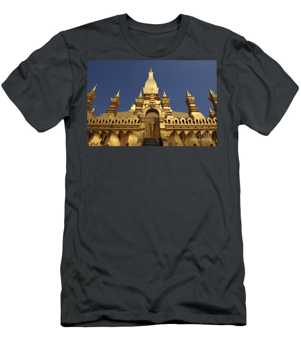 Vientienne Men's T-Shirt (Athletic Fit) featuring the photograph The Golden Palace Laos by Bob Christopher