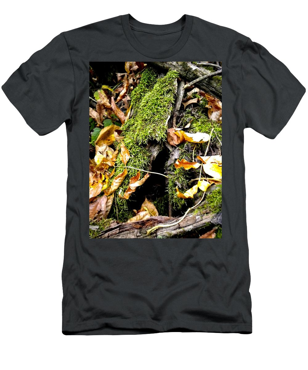 Forest Men's T-Shirt (Athletic Fit) featuring the painting The Hiding Spot by Renate Nadi Wesley