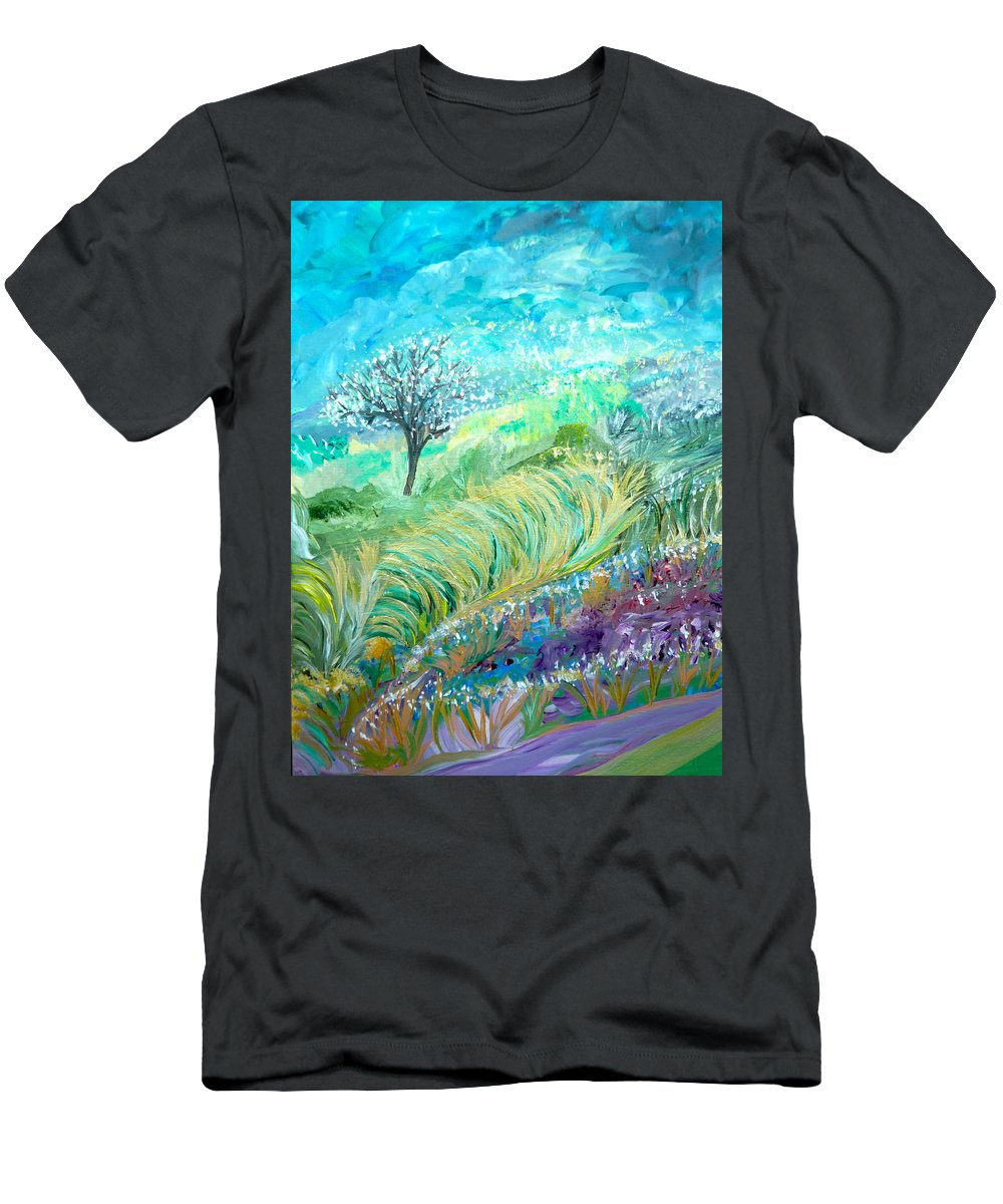 Whimsical Landscape Men's T-Shirt (Athletic Fit) featuring the painting The In-between Hour by Sara Credito