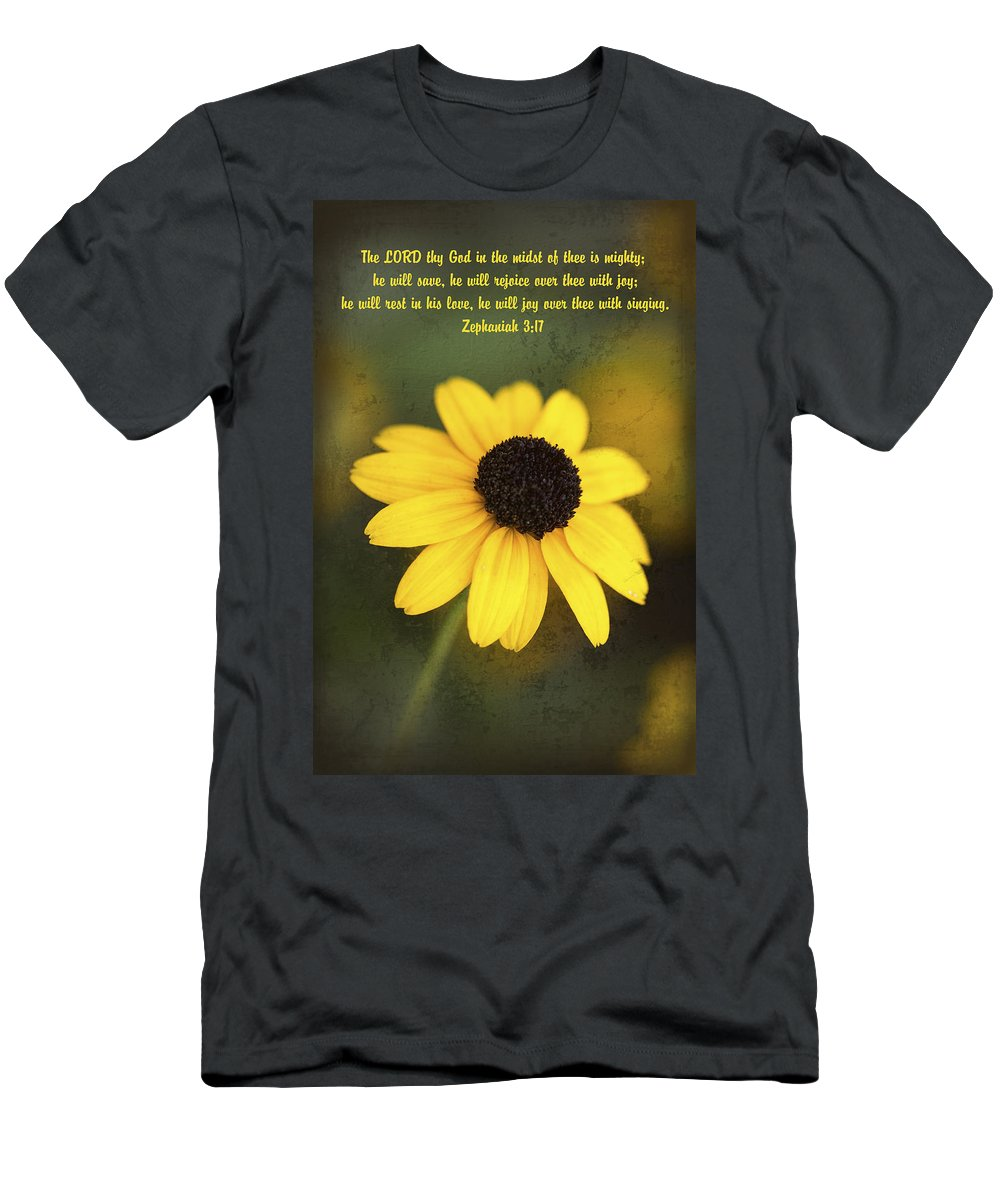 Orange Coneflower Men's T-Shirt (Athletic Fit) featuring the photograph The Lord Thy God In The Midst Of Thee Is Mighty by Kathy Clark
